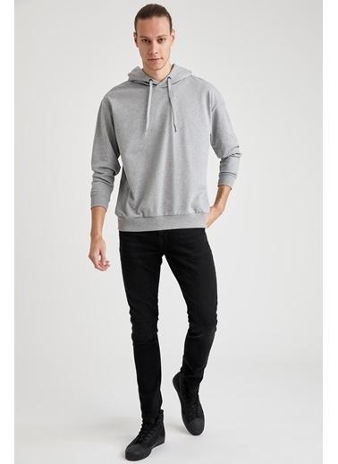 DeFacto Oversize Fit Kapüşonlu Basic Sweatshirt Gri